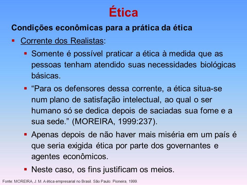 Ética Condições econômicas para a prática da ética Corrente dos Realistas: Somente é possível praticar a ética à medida que as pessoas tenham atendido