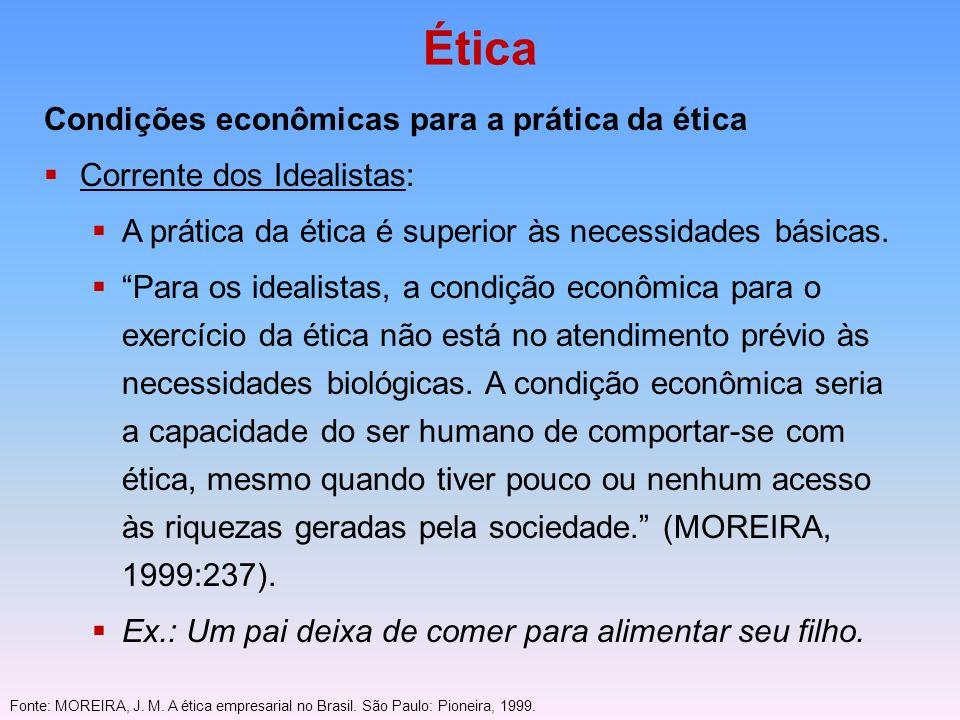Ética Condições econômicas para a prática da ética Corrente dos Idealistas: A prática da ética é superior às necessidades básicas. Para os idealistas,