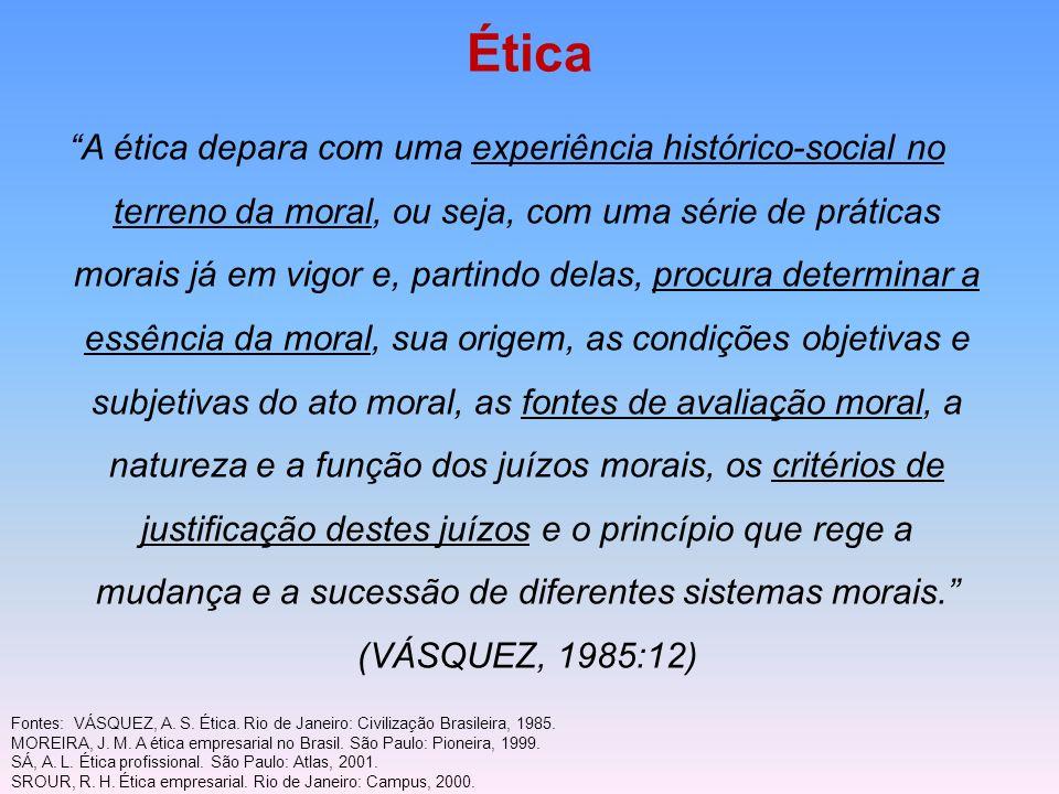 Ética A ética depara com uma experiência histórico-social no terreno da moral, ou seja, com uma série de práticas morais já em vigor e, partindo delas