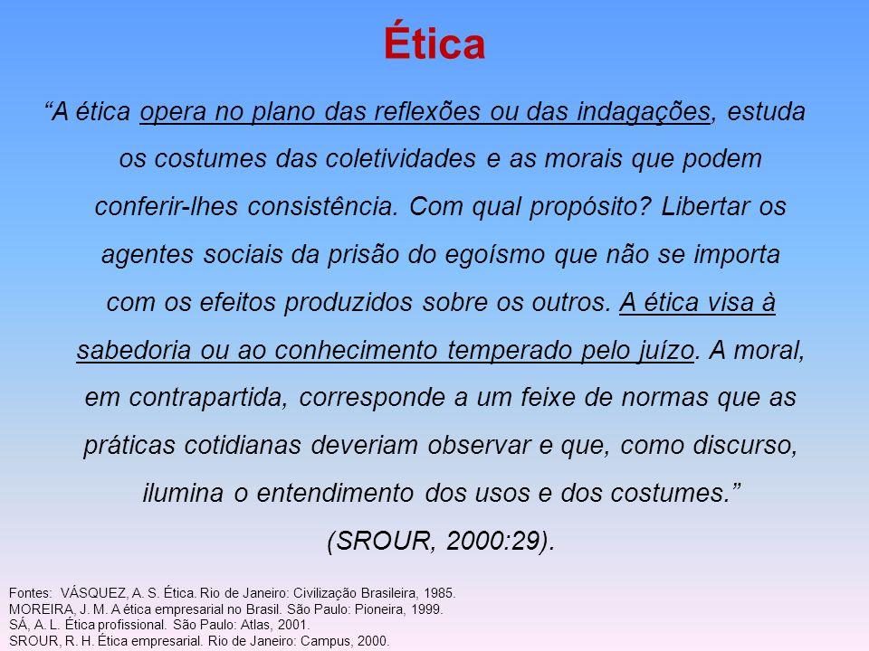 Ética A ética opera no plano das reflexões ou das indagações, estuda os costumes das coletividades e as morais que podem conferir-lhes consistência. C