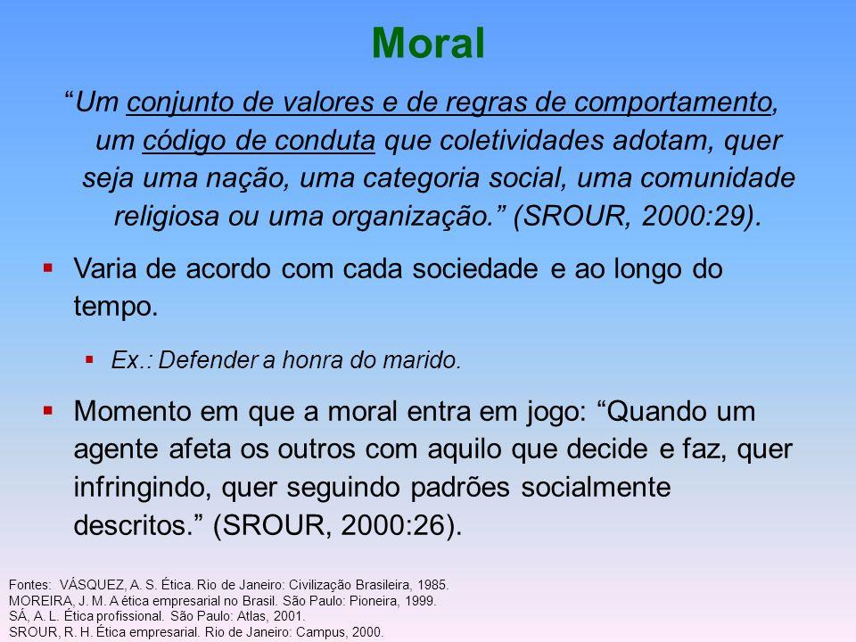 Moral Um conjunto de valores e de regras de comportamento, um código de conduta que coletividades adotam, quer seja uma nação, uma categoria social, u