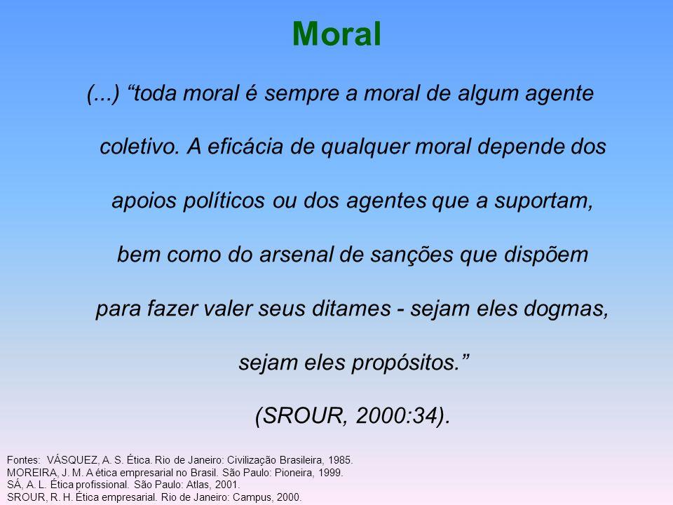 Moral (...) toda moral é sempre a moral de algum agente coletivo. A eficácia de qualquer moral depende dos apoios políticos ou dos agentes que a supor