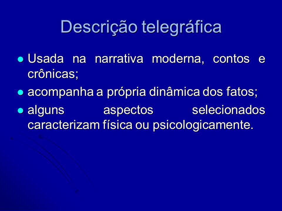 Descrição telegráfica Usada na narrativa moderna, contos e crônicas; Usada na narrativa moderna, contos e crônicas; acompanha a própria dinâmica dos f