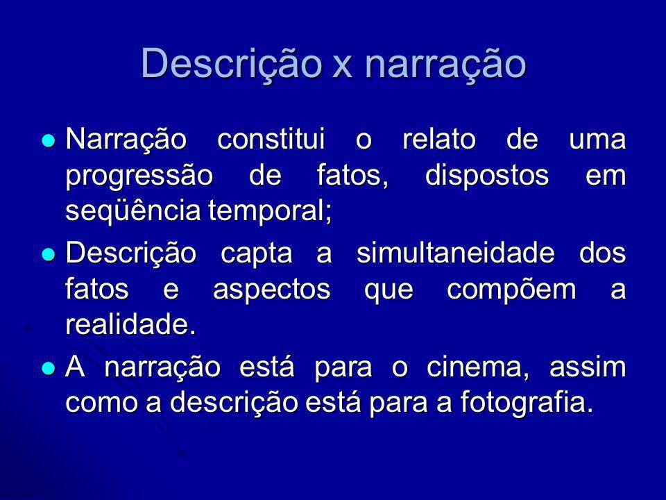 Descrição x narração Narração constitui o relato de uma progressão de fatos, dispostos em seqüência temporal; Narração constitui o relato de uma progr