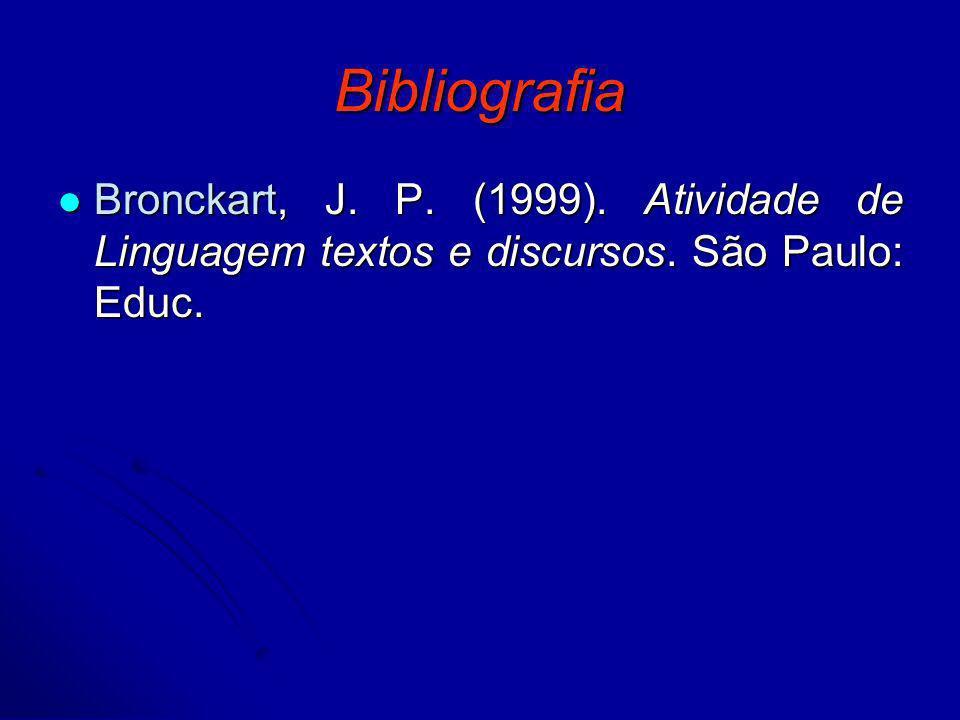 Bibliografia Bronckart, J. P. (1999). Atividade de Linguagem textos e discursos. São Paulo: Educ.