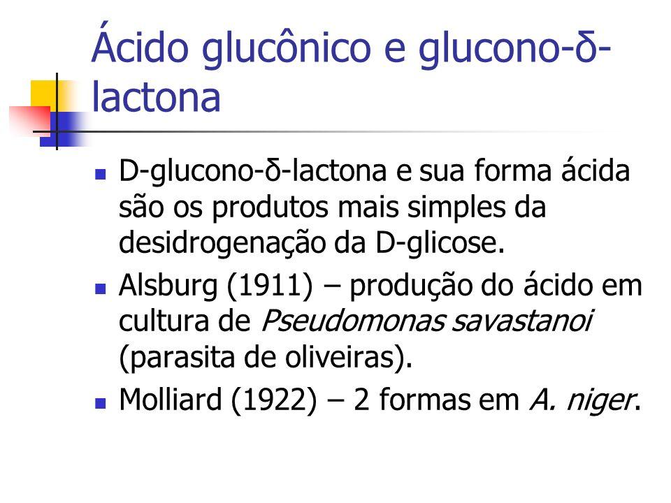 Ácido glucônico e glucono-δ- lactona D-glucono-δ-lactona e sua forma ácida são os produtos mais simples da desidrogenação da D-glicose. Alsburg (1911)
