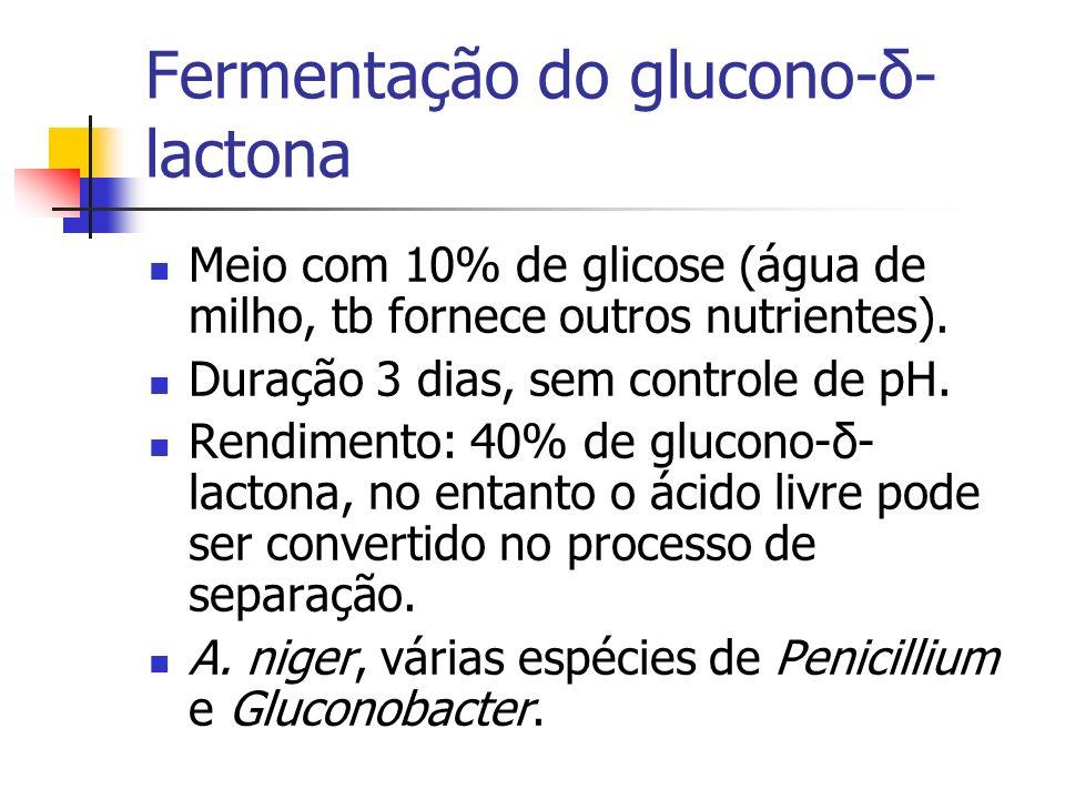 Fermentação do glucono-δ- lactona Meio com 10% de glicose (água de milho, tb fornece outros nutrientes). Duração 3 dias, sem controle de pH. Rendiment