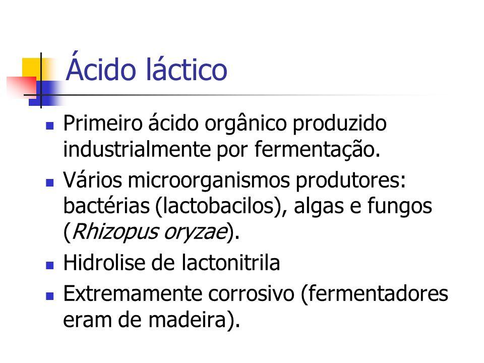 Ácido láctico Primeiro ácido orgânico produzido industrialmente por fermentação. Vários microorganismos produtores: bactérias (lactobacilos), algas e