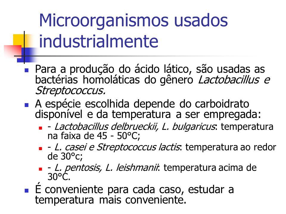 Microorganismos usados industrialmente Para a produção do ácido lático, são usadas as bactérias homoláticas do gênero Lactobacillus e Streptococcus. A