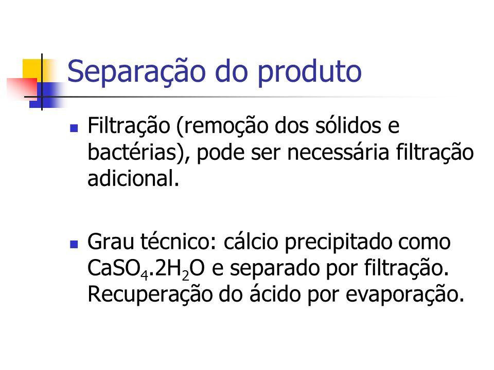 Separação do produto Filtração (remoção dos sólidos e bactérias), pode ser necessária filtração adicional. Grau técnico: cálcio precipitado como CaSO