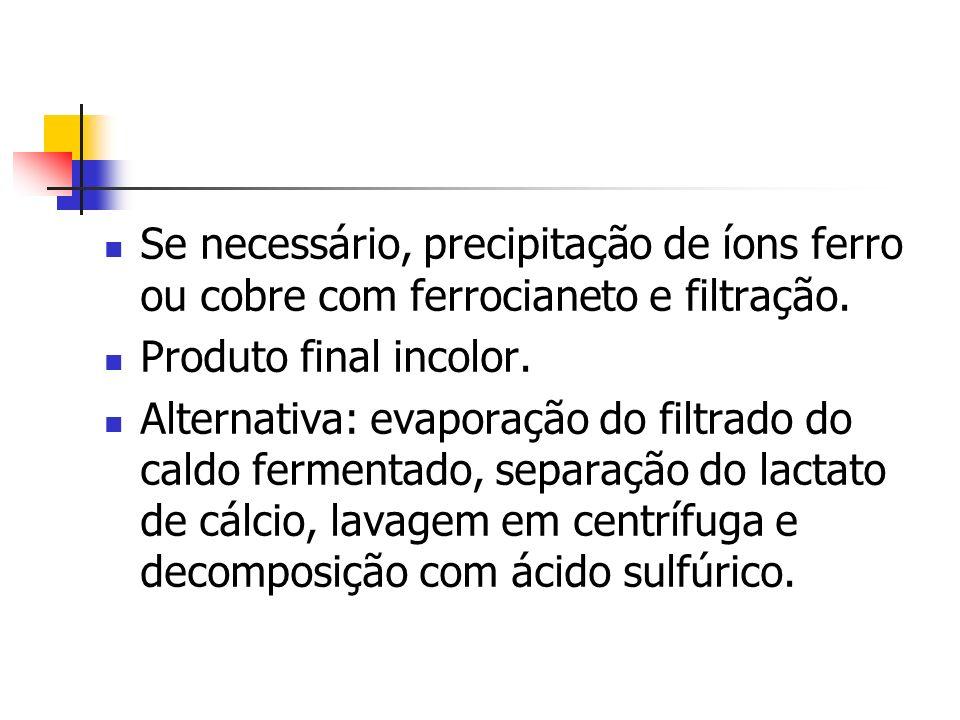 Se necessário, precipitação de íons ferro ou cobre com ferrocianeto e filtração. Produto final incolor. Alternativa: evaporação do filtrado do caldo f