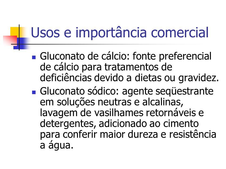 Usos e importância comercial Gluconato de cálcio: fonte preferencial de cálcio para tratamentos de deficiências devido a dietas ou gravidez. Gluconato