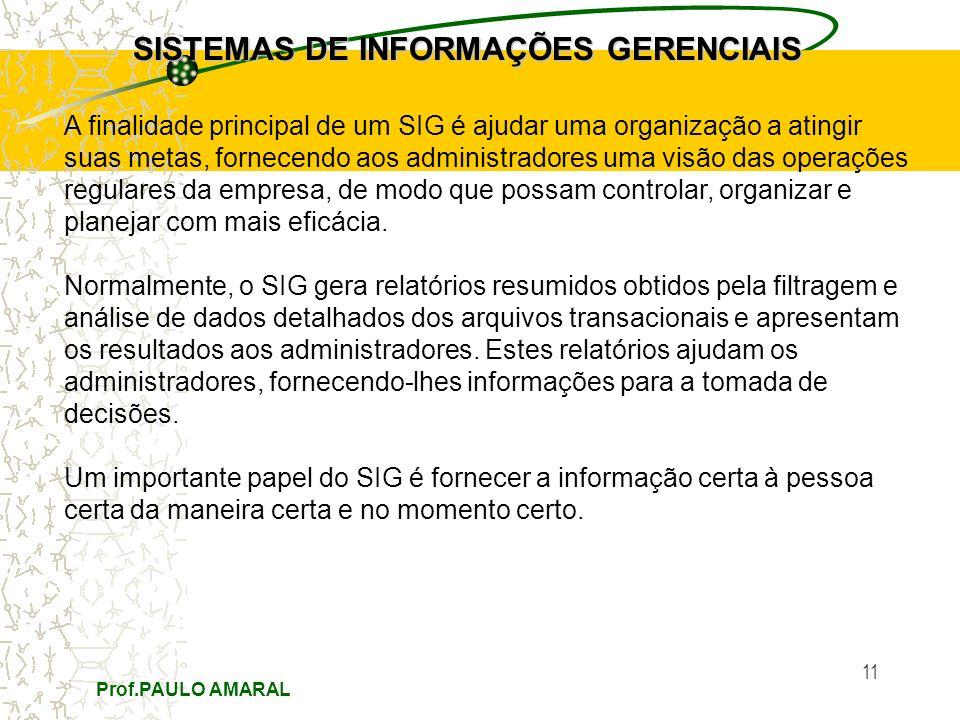 Prof.PAULO AMARAL 11 SISTEMAS DE INFORMAÇÕES GERENCIAIS A finalidade principal de um SIG é ajudar uma organização a atingir suas metas, fornecendo aos