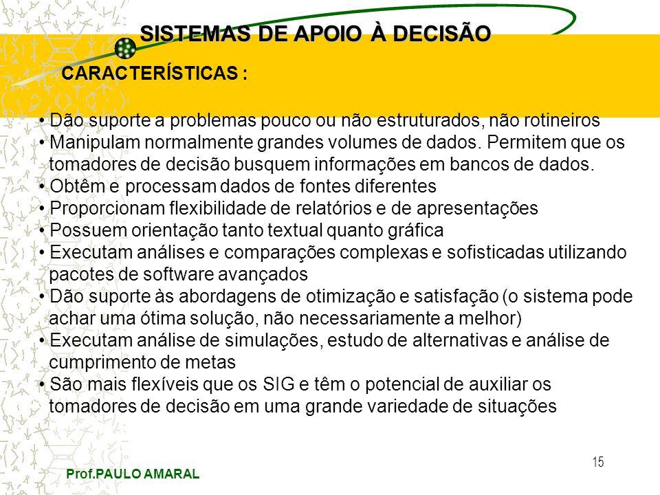 Prof.PAULO AMARAL 15 SISTEMAS DE APOIO À DECISÃO CARACTERÍSTICAS : Dão suporte a problemas pouco ou não estruturados, não rotineiros Manipulam normalmente grandes volumes de dados.