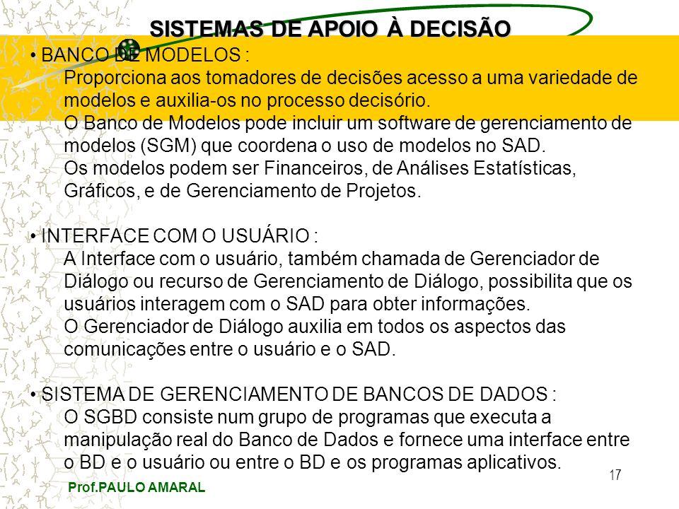 Prof.PAULO AMARAL 17 SISTEMAS DE APOIO À DECISÃO BANCO DE MODELOS : Proporciona aos tomadores de decisões acesso a uma variedade de modelos e auxilia-os no processo decisório.