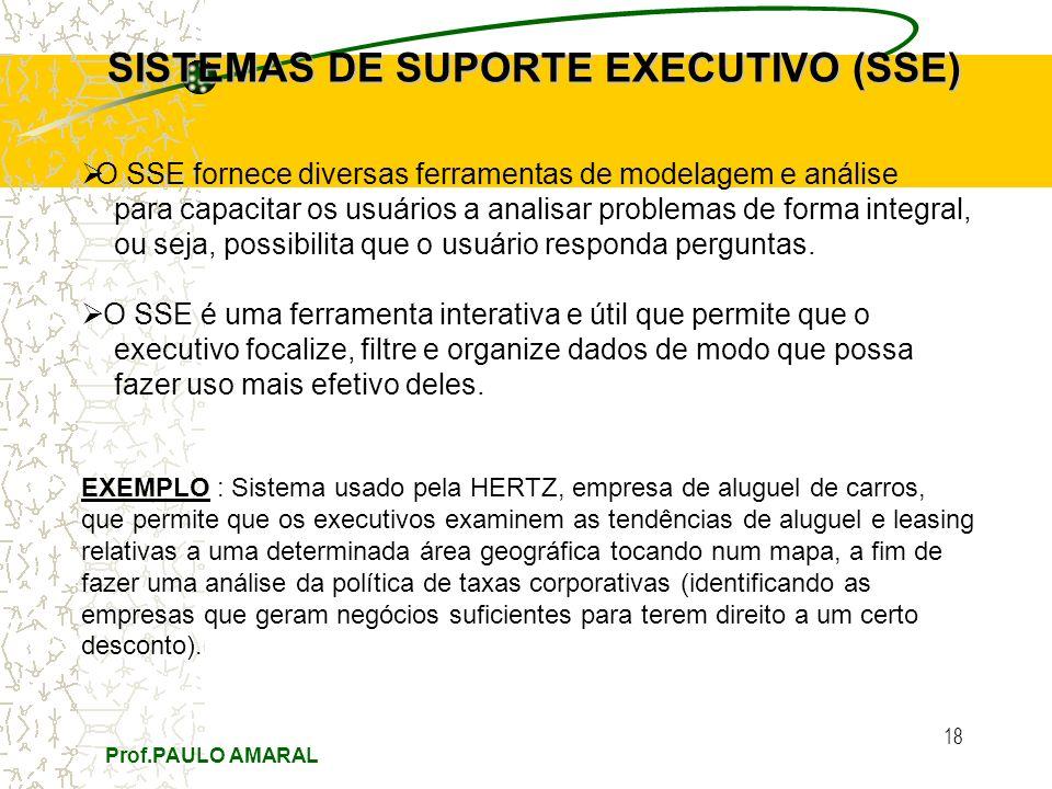 Prof.PAULO AMARAL 18 SISTEMAS DE SUPORTE EXECUTIVO (SSE) O SSE fornece diversas ferramentas de modelagem e análise para capacitar os usuários a analis