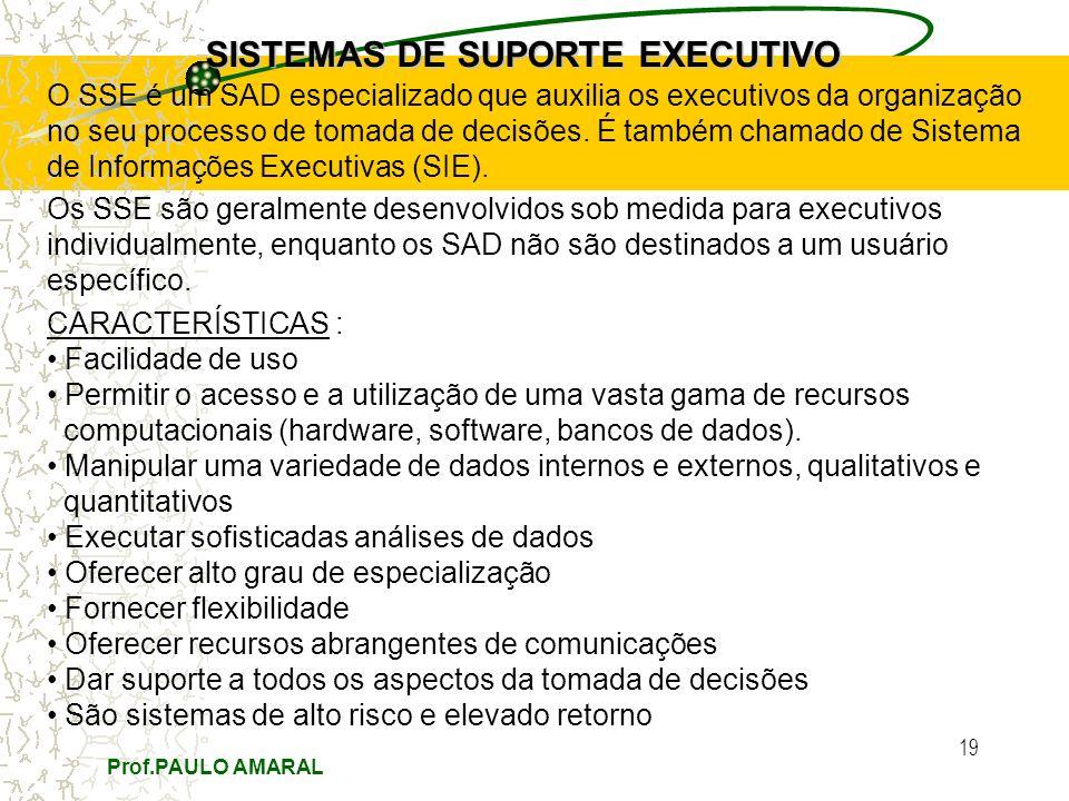 Prof.PAULO AMARAL 19 SISTEMAS DE SUPORTE EXECUTIVO O SSE é um SAD especializado que auxilia os executivos da organização no seu processo de tomada de decisões.