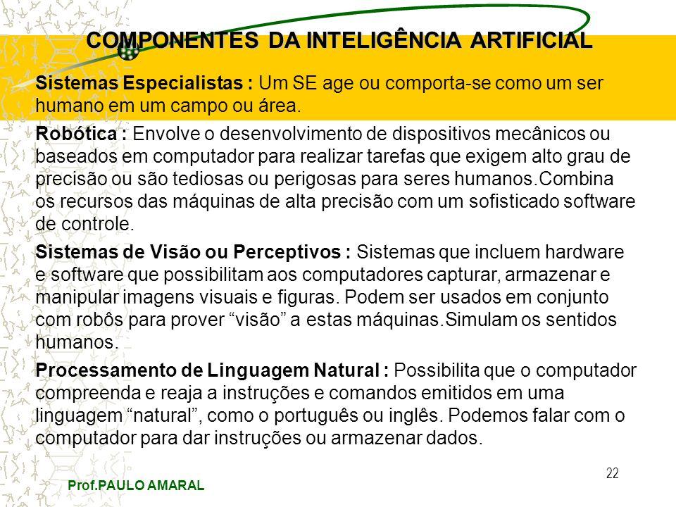 Prof.PAULO AMARAL 22 COMPONENTES DA INTELIGÊNCIA ARTIFICIAL Sistemas Especialistas : Um SE age ou comporta-se como um ser humano em um campo ou área.