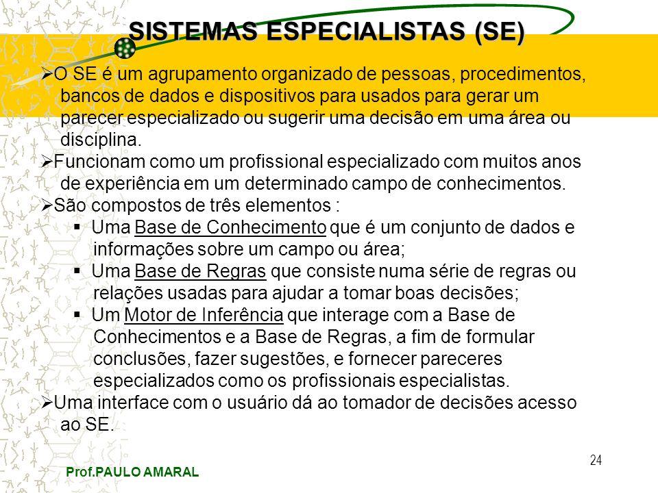 Prof.PAULO AMARAL 24 SISTEMAS ESPECIALISTAS (SE) O SE é um agrupamento organizado de pessoas, procedimentos, bancos de dados e dispositivos para usado