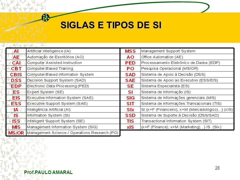 Prof.PAULO AMARAL 28 SIGLAS E TIPOS DE SI