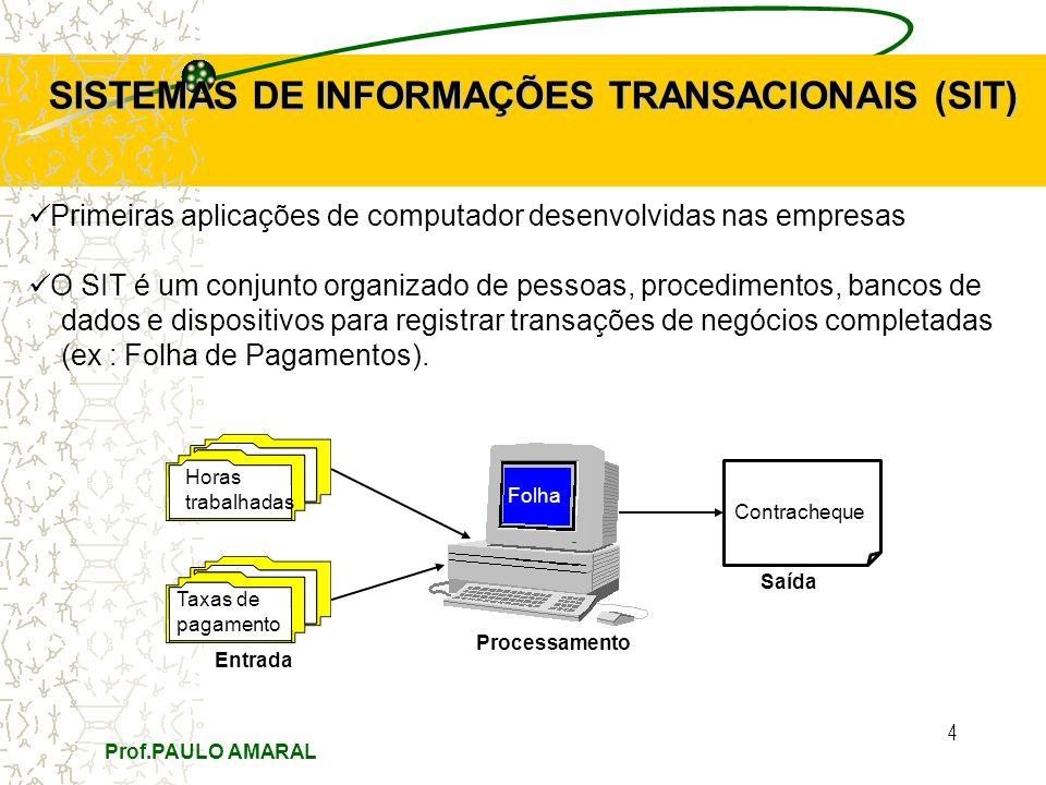 Prof.PAULO AMARAL 4 SISTEMAS DE INFORMAÇÕES TRANSACIONAIS (SIT) Primeiras aplicações de computador desenvolvidas nas empresas O SIT é um conjunto organizado de pessoas, procedimentos, bancos de dados e dispositivos para registrar transações de negócios completadas (ex : Folha de Pagamentos).