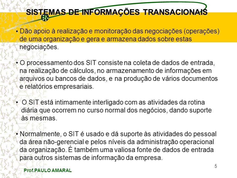 Prof.PAULO AMARAL 5 SISTEMAS DE INFORMAÇÕES TRANSACIONAIS Dão apoio à realização e monitoração das negociações (operações) de uma organização e gera e armazena dados sobre estas negociações.