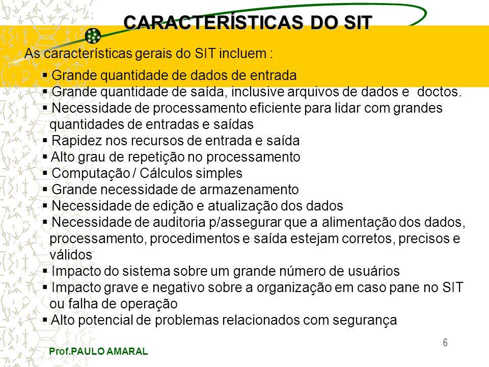 Prof.PAULO AMARAL 6 CARACTERÍSTICAS DO SIT As características gerais do SIT incluem : Grande quantidade de dados de entrada Grande quantidade de saída, inclusive arquivos de dados e doctos.