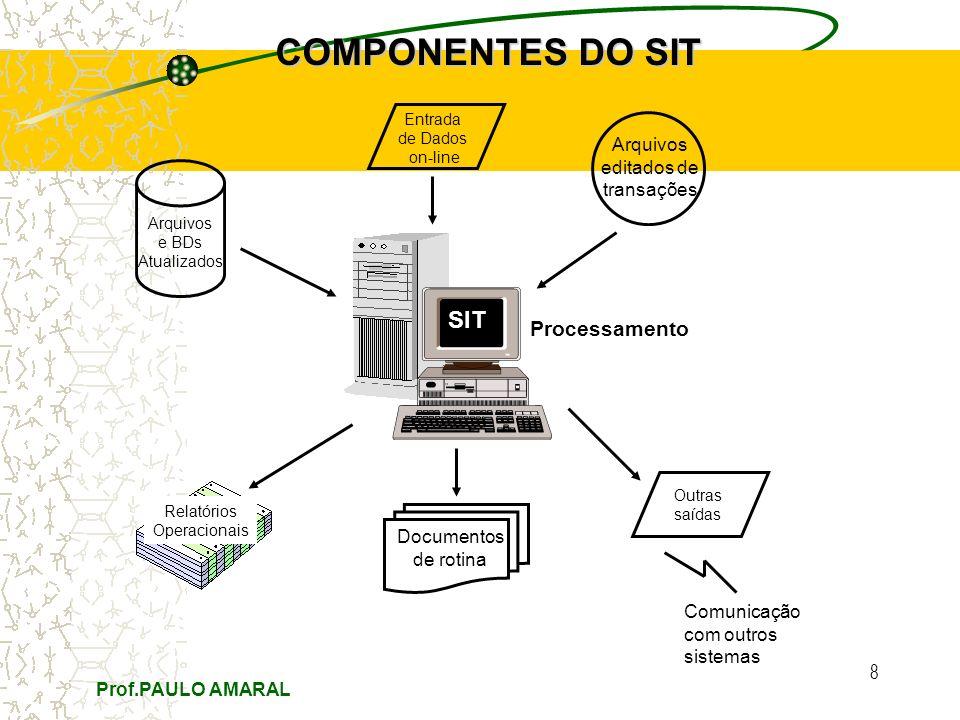 Prof.PAULO AMARAL 8 COMPONENTES DO SIT Entrada de Dados on-line Arquivos e BDs Atualizados Relatórios Operacionais Arquivos editados de transações Documentos de rotina Outras saídas SIT Processamento Comunicação com outros sistemas