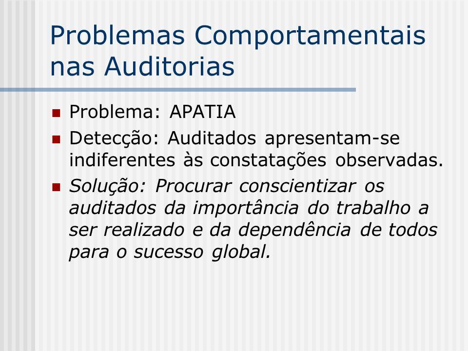 Problemas Comportamentais nas Auditorias Problema: APATIA Detecção: Auditados apresentam-se indiferentes às constatações observadas. Solução: Procurar