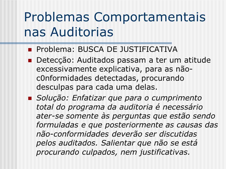 Problemas Comportamentais nas Auditorias Problema: BUSCA DE JUSTIFICATIVA Detecção: Auditados passam a ter um atitude excessivamente explicativa, para as não- c0nformidades detectadas, procurando desculpas para cada uma delas.