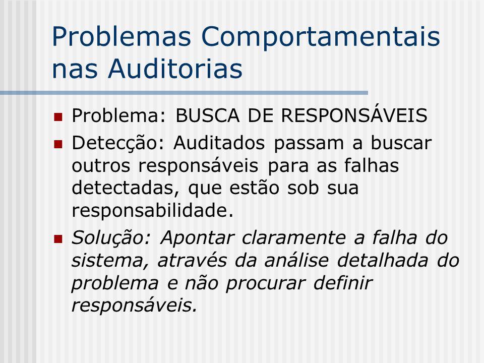 Problemas Comportamentais nas Auditorias Problema: BUSCA DE RESPONSÁVEIS Detecção: Auditados passam a buscar outros responsáveis para as falhas detectadas, que estão sob sua responsabilidade.