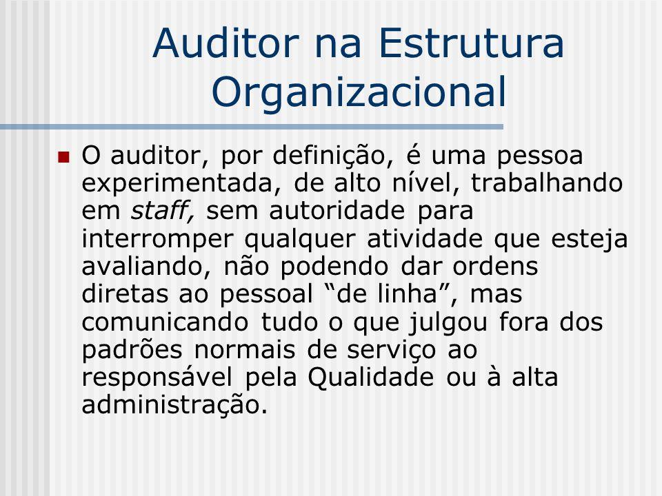 Auditor na Estrutura Organizacional O auditor, por definição, é uma pessoa experimentada, de alto nível, trabalhando em staff, sem autoridade para int