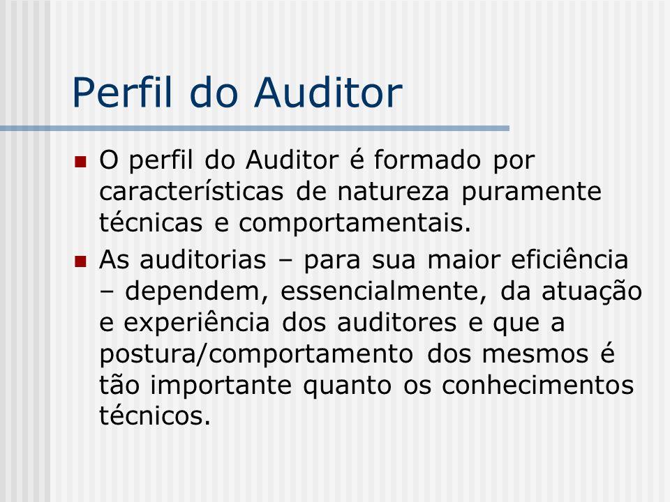 Perfil do Auditor O perfil do Auditor é formado por características de natureza puramente técnicas e comportamentais. As auditorias – para sua maior e