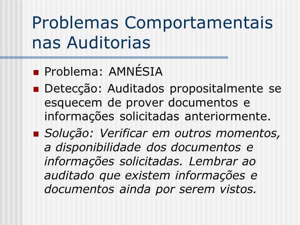 Problemas Comportamentais nas Auditorias Problema: AMNÉSIA Detecção: Auditados propositalmente se esquecem de prover documentos e informações solicitadas anteriormente.