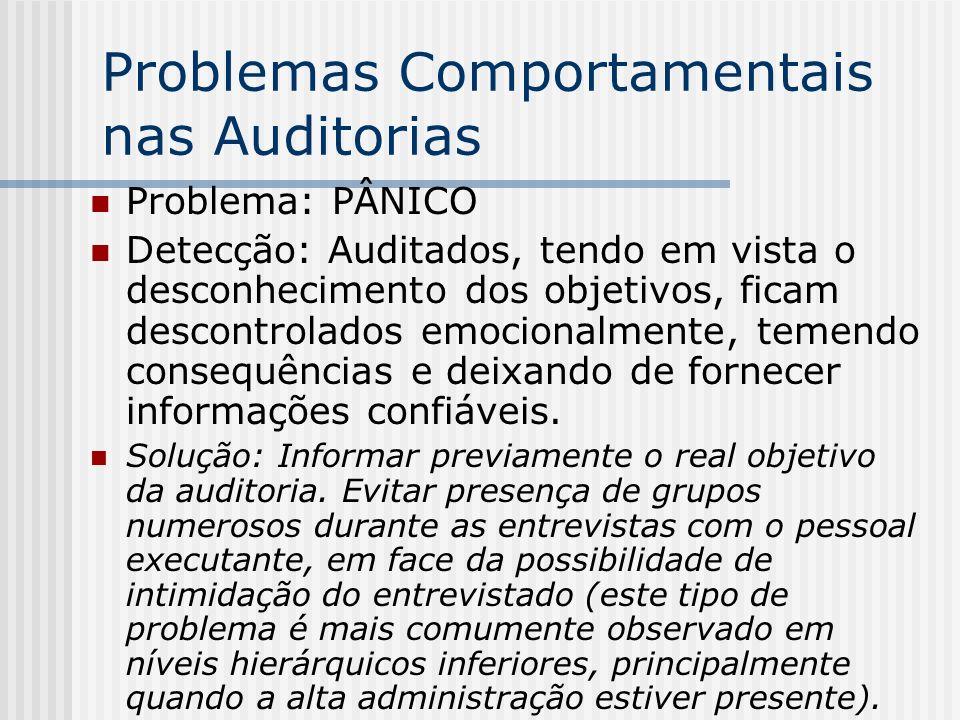 Problemas Comportamentais nas Auditorias Problema: PÂNICO Detecção: Auditados, tendo em vista o desconhecimento dos objetivos, ficam descontrolados emocionalmente, temendo consequências e deixando de fornecer informações confiáveis.