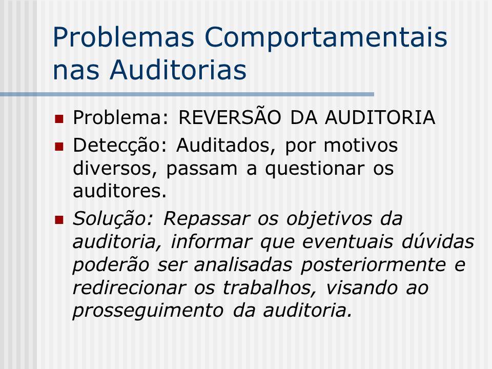 Problemas Comportamentais nas Auditorias Problema: REVERSÃO DA AUDITORIA Detecção: Auditados, por motivos diversos, passam a questionar os auditores.