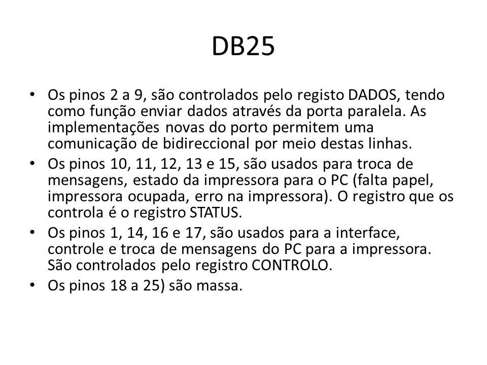 DB25 Os pinos 2 a 9, são controlados pelo registo DADOS, tendo como função enviar dados através da porta paralela. As implementações novas do porto pe