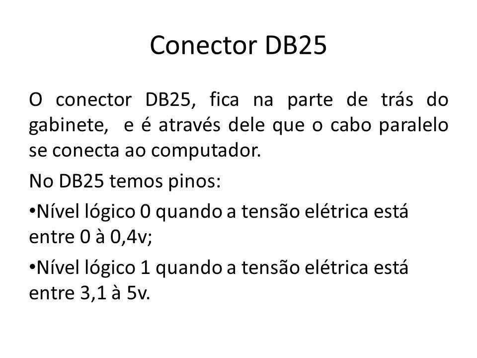 Conector DB25 O conector DB25, fica na parte de trás do gabinete, e é através dele que o cabo paralelo se conecta ao computador. No DB25 temos pinos: