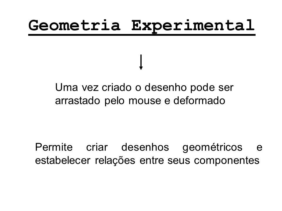 Geometria Experimental Uma vez criado o desenho pode ser arrastado pelo mouse e deformado Permite criar desenhos geométricos e estabelecer relações en