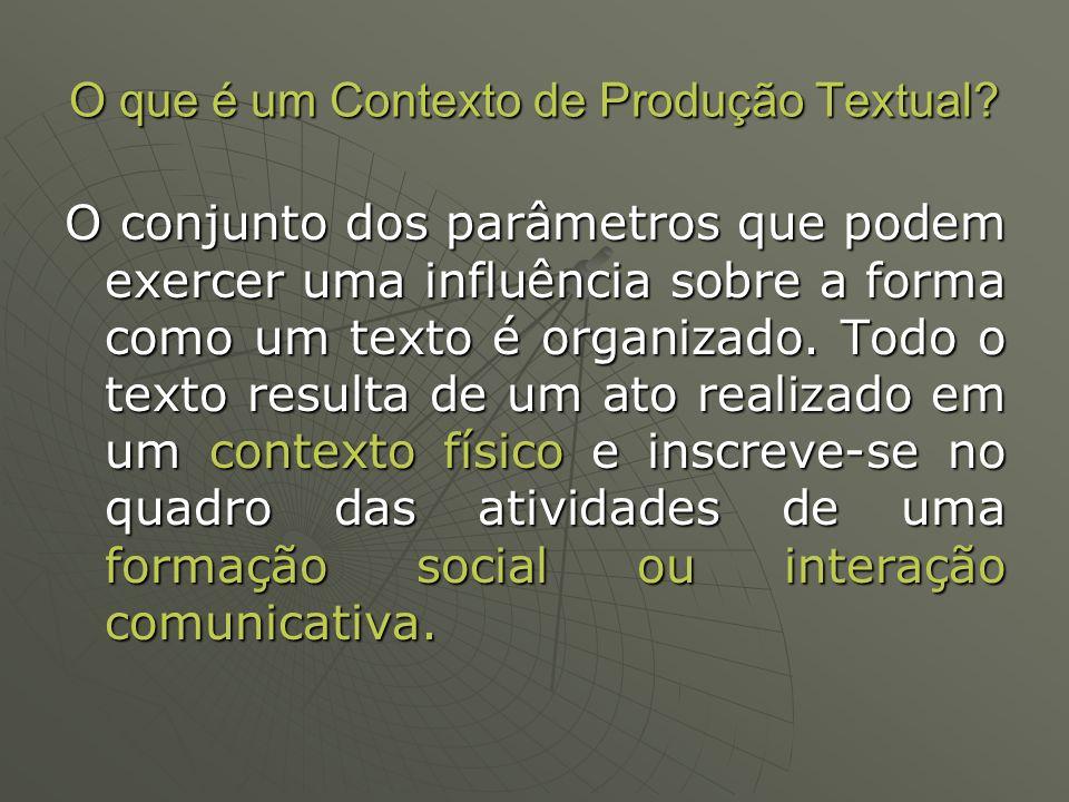 Contexto de Produção: (a) contexto físico É definido por 4 parâmetros precisos: Lugar de produção: o lugar físico em que o texto é produzido; Momento de produção: a extensão de tempo durante a qual o texto é produzido; Emissor ou produtor: a pessoa que produz fisicamente o texto oral ou escrito; Receptor ou interlocutor: a(s) pessoa(s) que pode(m) perceber (ou receber) concretamente o texto;