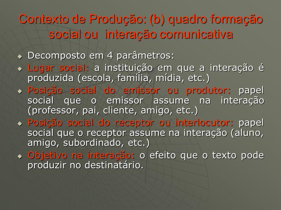 Contexto de Produção: (b) quadro formação social ou interação comunicativa Decomposto em 4 parâmetros: Decomposto em 4 parâmetros: Lugar social: a ins
