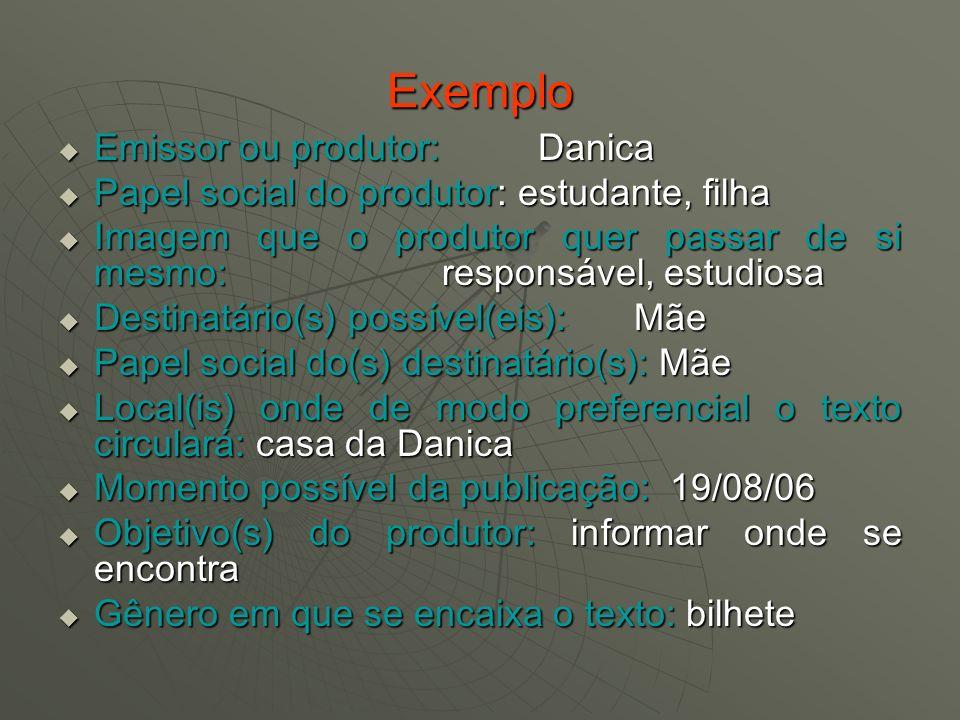 Exemplo Emissor ou produtor: Danica Emissor ou produtor: Danica Papel social do produtor: estudante, filha Papel social do produtor: estudante, filha