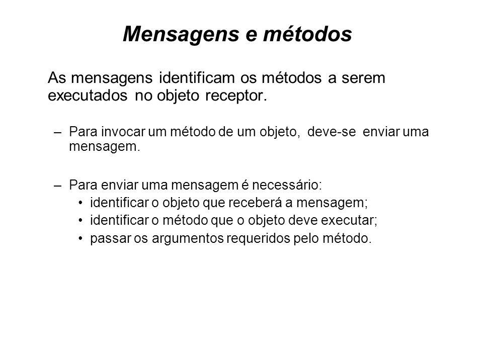Mensagens e métodos As mensagens identificam os métodos a serem executados no objeto receptor. –Para invocar um método de um objeto, deve-se enviar um