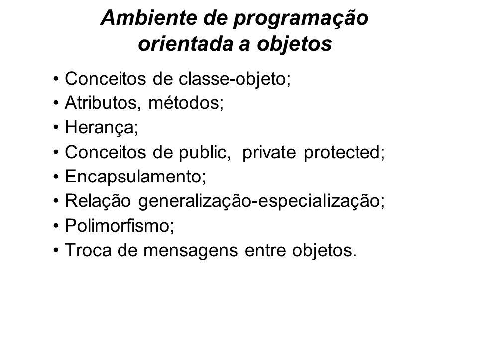 Ambiente de programação orientada a objetos Conceitos de classe-objeto; Atributos, métodos; Herança; Conceitos de public, private protected; Encapsula