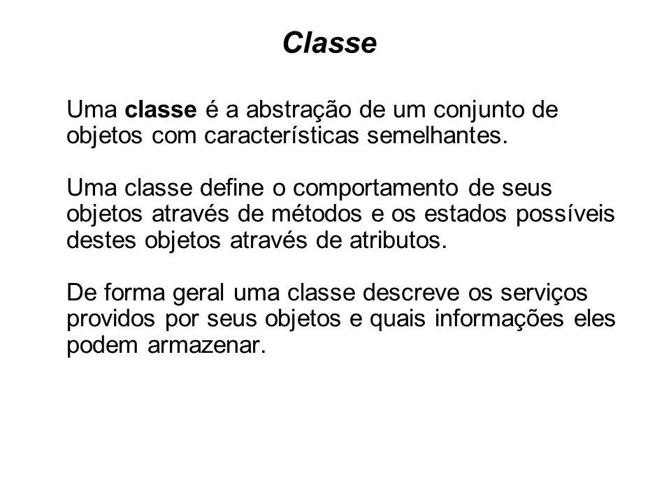 Classe Uma classe é a abstração de um conjunto de objetos com características semelhantes. Uma classe define o comportamento de seus objetos através d