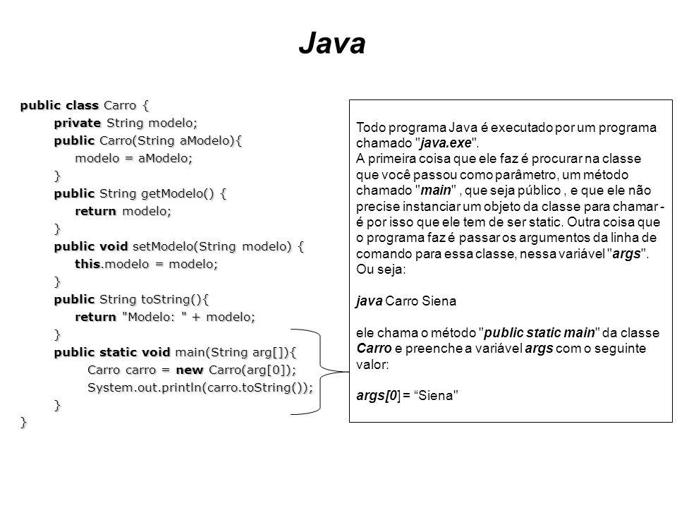 Java public class Carro { private String modelo; public Carro(String aModelo){ modelo = aModelo; } public String getModelo() { return modelo; } public