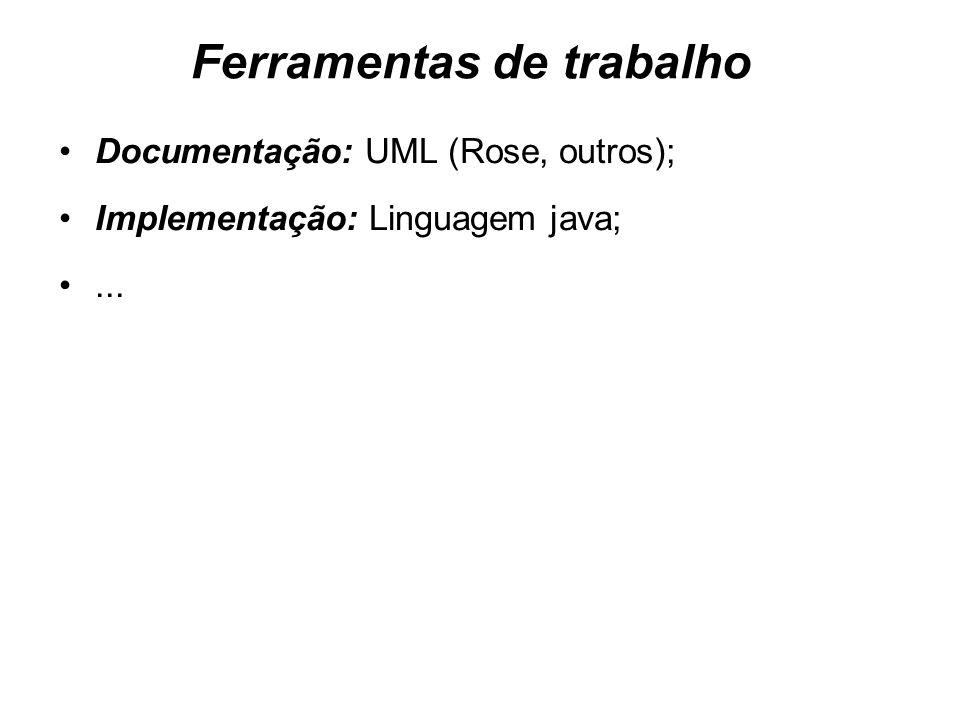 Ferramentas de trabalho Documentação: UML (Rose, outros); Implementação: Linguagem java;...