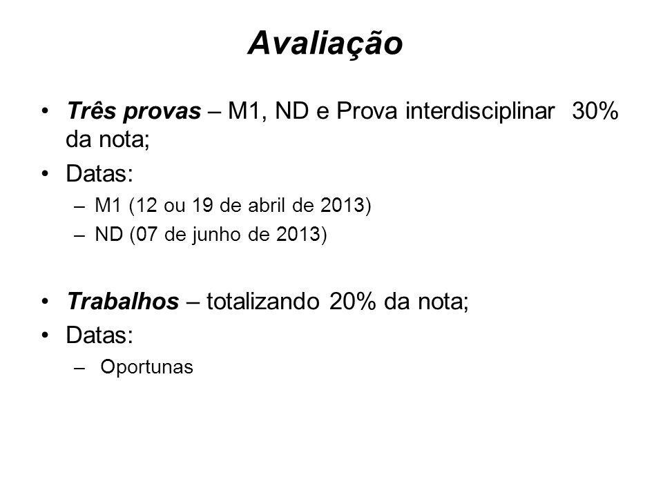 Avaliação Três provas – M1, ND e Prova interdisciplinar 30% da nota; Datas: –M1 (12 ou 19 de abril de 2013) –ND (07 de junho de 2013) Trabalhos – tota