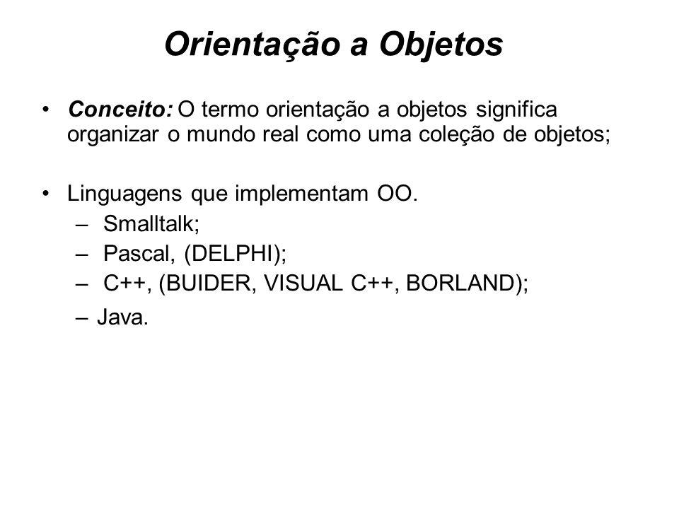 Orientação a Objetos Conceito: O termo orientação a objetos significa organizar o mundo real como uma coleção de objetos; Linguagens que implementam O