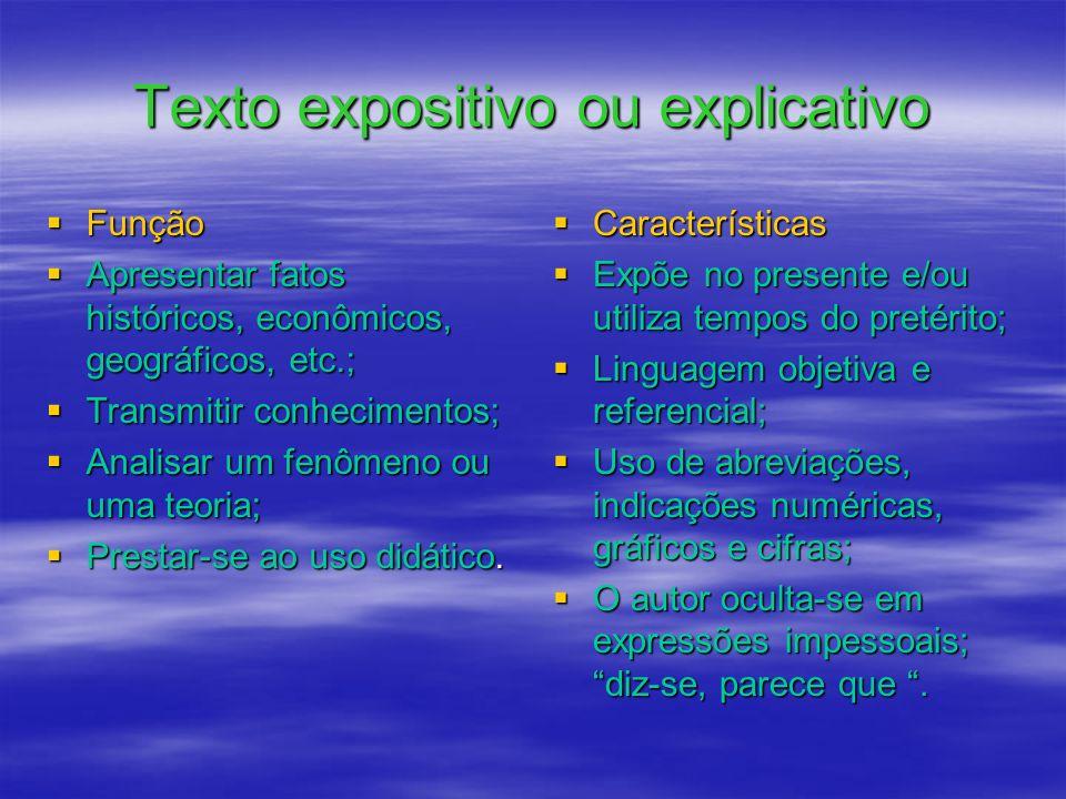 Texto expositivo ou explicativo Função Apresentar fatos históricos, econômicos, geográficos, etc.; Transmitir conhecimentos; Analisar um fenômeno ou u